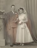 Black and white faded wedding photograph cleaned up and restored